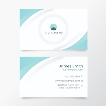 Neumorphic business or visiting card in white and blue color.