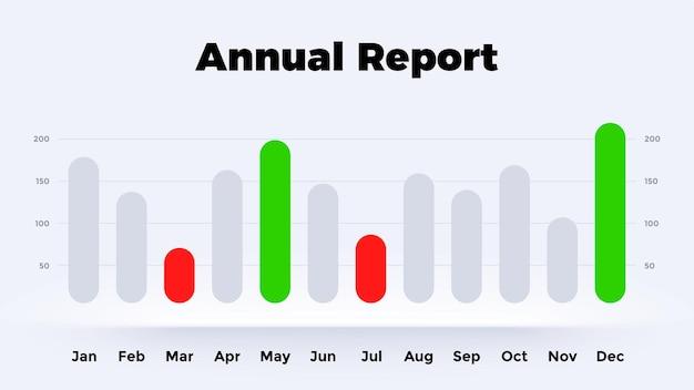 Neumorphic 차트 연례 보고서 개월 벡터 infographic 그래프 프레 젠 테이 션 다이어그램 템플릿