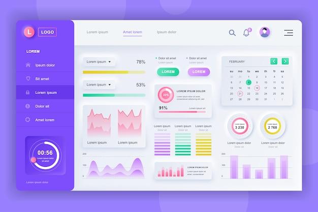 Neumorphic dashboard ui kit. шаблон панели администратора с элементами инфографики, диаграммы hud, инфо графики. панель инструментов веб-сайта для ui и ux design web page. стиль нейморфизма.
