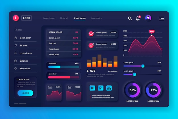Neumorphic dashboard ui kit. admin panel template with infographic elements, hud diagram, info graphics. website dashboard for ui and ux design web page. neumorphism style.