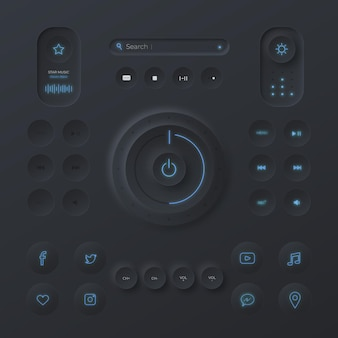 Neumorphic design user interface elements