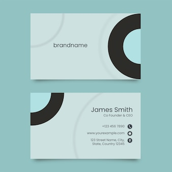 Neumorphic horizontal business card in front and back side.