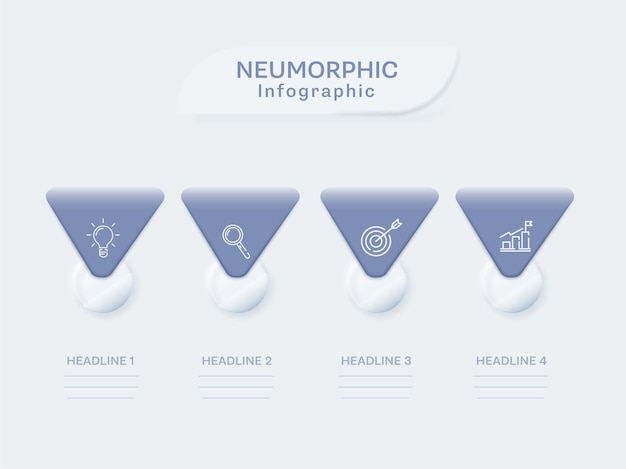 白い背景の上の4つのオプションとニューモルフィックインフォグラフィックコンセプト。