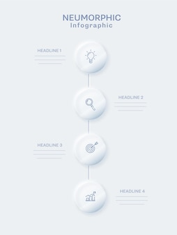 Neumorphic infographic template design with four round elements in vertical row on white background.