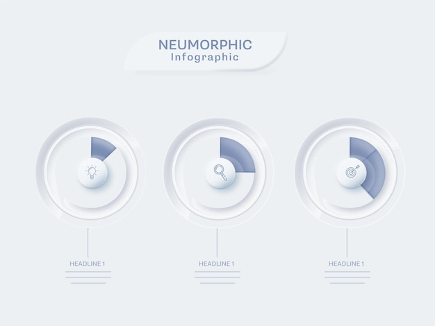 Neumorphic infographic template layout with three level infochart on white background.