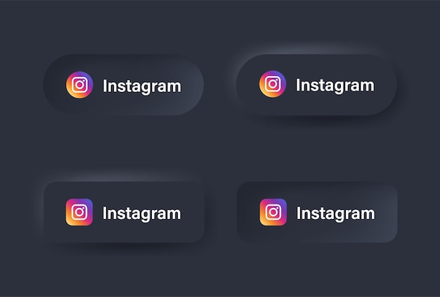 Neumorphic instagram logo icon in black button for social media icons logos in neumorphism buttons