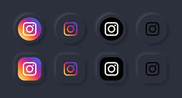 ソーシャルメディアアイコンの黒ボタンのニューモルフィックインスタグラムロゴアイコンニューモルフィズムボタンのロゴ