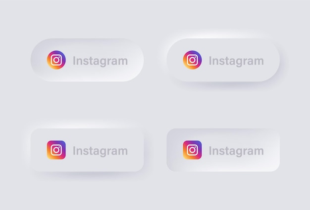 Neumorphic instagram logo icon for popular social media icons logos in neumorphism buttons ui ux