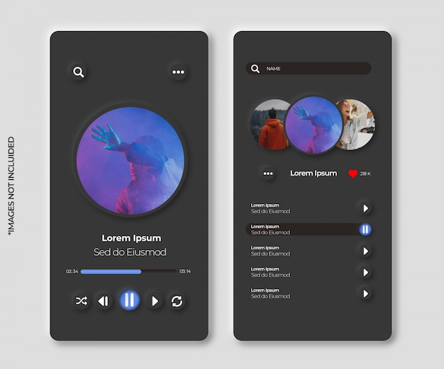 Neumorphic interface music app for smartphone