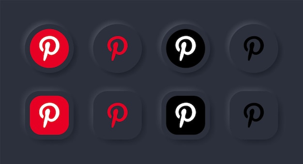 Neumorphic pinterest logo icon in black button for social media icons logos in neumorphism buttons