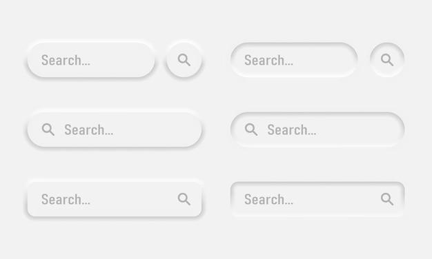 Neumorphic 검색 막대 세트입니다. 브라우저, 사이트, 모바일 응용 프로그램 및 검색 버튼에 대한 웹 요소입니다. 뉴모피즘 디자인. 벡터 일러스트 레이 션 eps 10