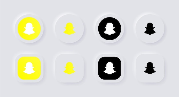 Neumorphismボタンの人気のソーシャルメディアアイコンロゴのneumorphicsnapchatロゴアイコンuiux