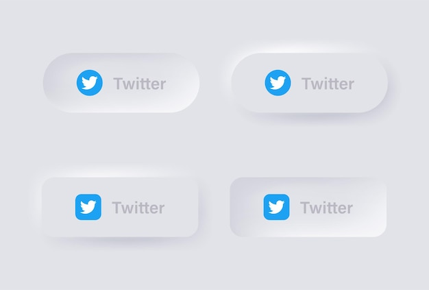Neumorphic twitter logo icon for popular social media icons logos in neumorphism buttons ui ux