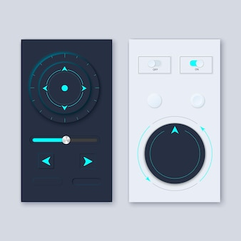 Neumorphic ui circle workflow graphic elements design kit with neumorphism style
