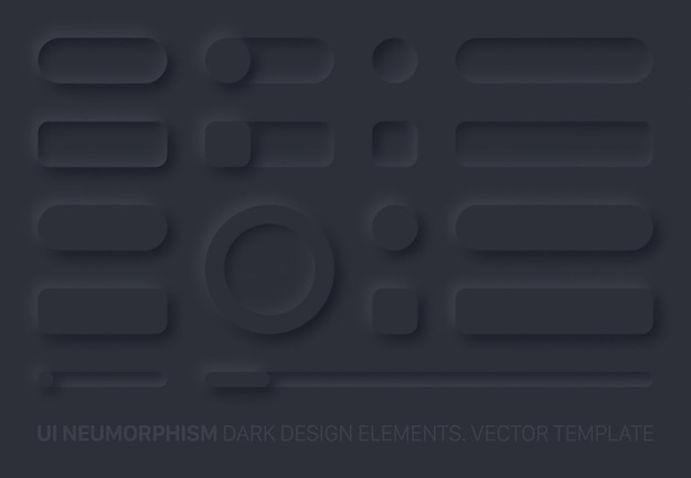 Neumorphic ui design elements set dark version. ui components and shapes buttons, bars, switchers, sliders in simple elegant trendy neomorphic style for apps, websites, interfaces