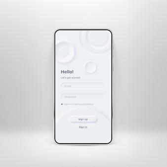 Неуморфный ui-кит на экране смартфона. форма входа и регистрации на белом шаблоне смартфона. поле ввода для регистрации и авторизации по телефону. приложение для мобильного интерфейса. шаблон пользовательского интерфейса
