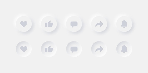 Neumorphic ui ux design elements youtube buttons like dislike comment share notifications
