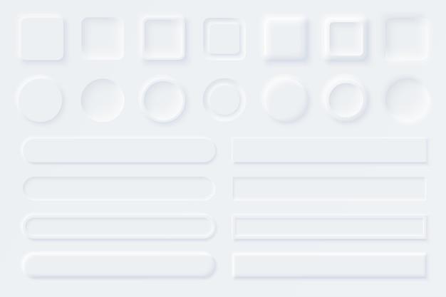 Белые элементы пользовательского интерфейса neumorphic ui ux. слайдеры для веб-сайтов, мобильного меню, навигации и приложений. белые веб-кнопки и слайдеры пользовательского интерфейса. стиль неоморфизма