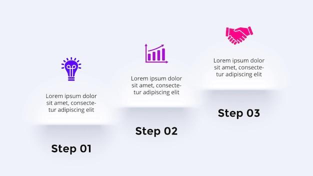 Neumorphic vector infographic presentation slide template stairs  steps neumorphism skeuomorphism