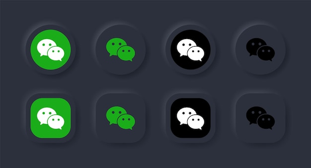 Neumorphic wechat logo icon in black button for social media icons logos in neumorphism buttons