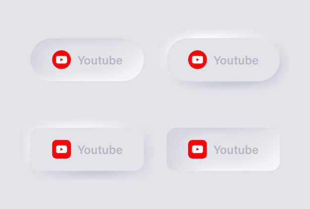 Neumorphic youtube logo icon for popular social media icons logos in neumorphism buttons ui ux