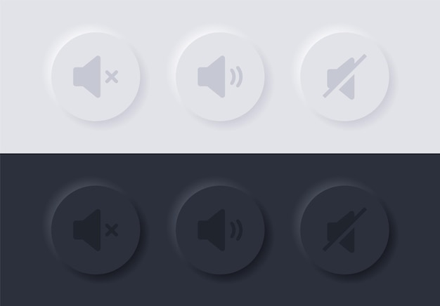 Neumorphism sound volume icons buttons in circle or neumorphic video audio options