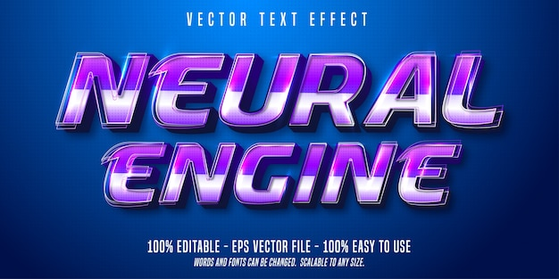 Neural engine text, technologic style editable text effect