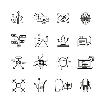 Neural network, artificial intelligence line icons.
