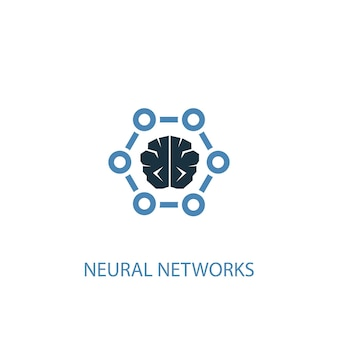 신경망 개념 2 컬러 아이콘입니다. 간단한 파란색 요소 그림입니다. 신경망 개념 기호 디자인입니다. 웹 및 모바일 ui/ux에 사용할 수 있습니다.