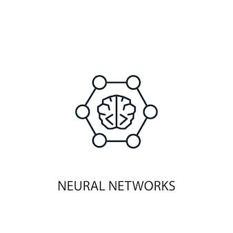 신경망 개념 라인 아이콘입니다. 간단한 요소 그림입니다. 신경망 개념 개요 기호 디자인입니다. 웹 및 모바일 ui/ux에 사용할 수 있습니다.