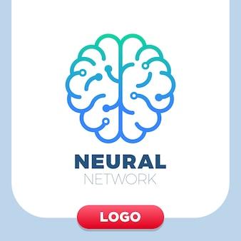 Neural networks human brain logo icon.