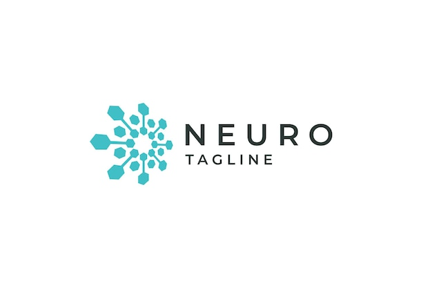 Концепция дизайна логотипа neuro tech neuron connect data science blue плоский вектор