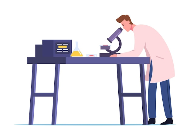Neurobiology or chemical laboratory research, experiment illustration