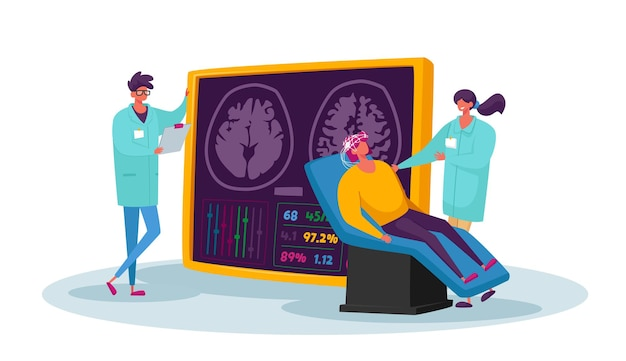 Neurobiology medicine, brain mri. doctor and patient characters in hospital on medical examination with computer monitor and patient head tomography diagnostics