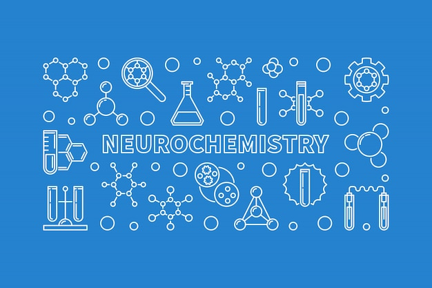 Neurochemistry concept linear icon illustration or banner