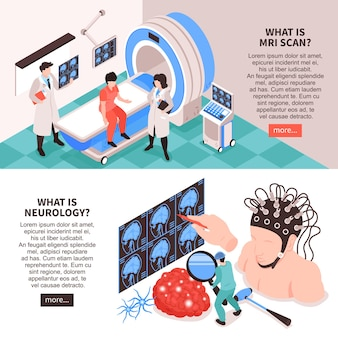 Neurological center with mri scan test and brain research info illustration