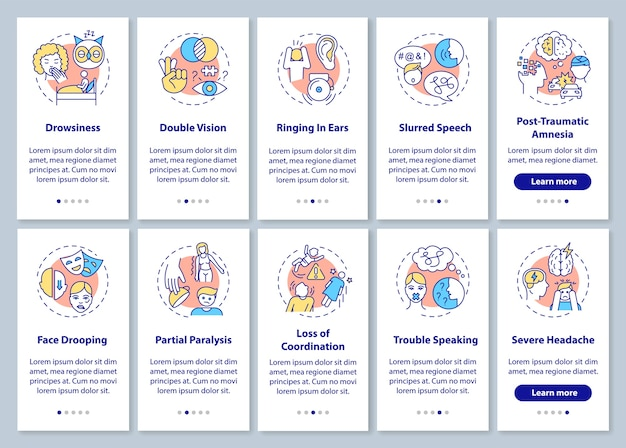 Neurological problem sign onboarding mobile app page screen with concepts set