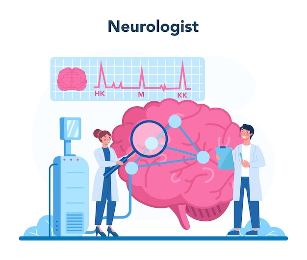 신경과 개념. 의사는 인간의 두뇌를 검사합니다. 환자의 건강을 돌보는 의사의 아이디어. 의료 진단 및 상담.