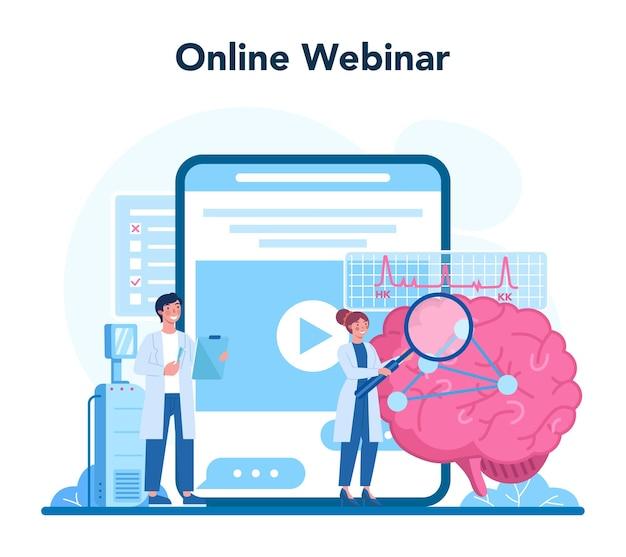 신경과 전문의 온라인 서비스 또는 플랫폼. 의사는 인간의 두뇌를 검사합니다. 환자의 건강을 돌보는 의사의 아이디어. 온라인 웨비나. 벡터 일러스트 레이 션