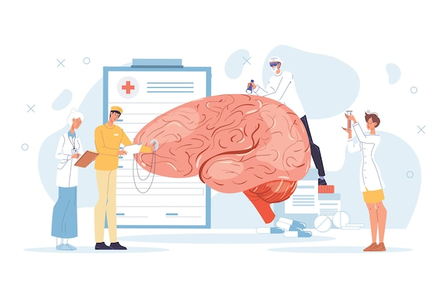 Neurology disease diagnostics, neurosurgery illness treatment. doctor neurologist team character in uniform study tiny nerve examine huge human brain, test mind sense. healthcare, medicine