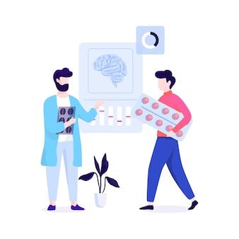 Врач невролог. идея лечения и медицинской помощи. иллюстрация