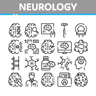 Neurology medicine collection icons set