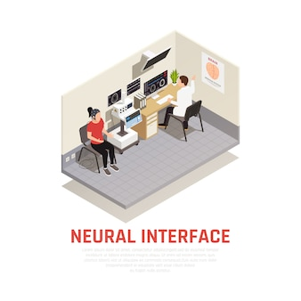 Neurology and neural interface isometric concept with brain research symbols