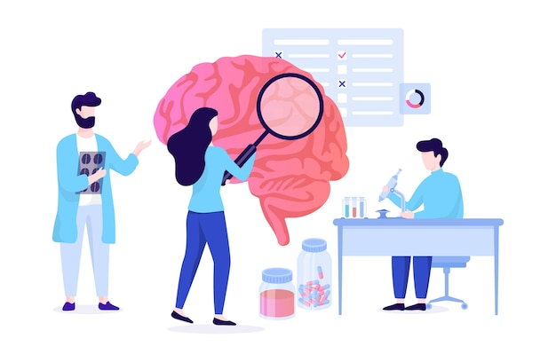 Neurology web banner concept. idea of medical treatment and doctor care.   illustration