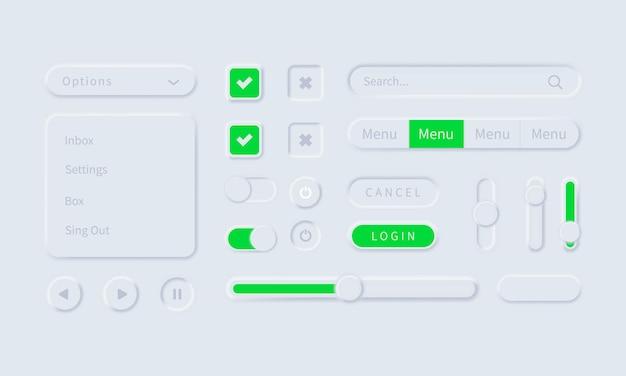 Neuromorphic ui ux 흰색 사용자 인터페이스 웹 버튼 또는 모바일 메뉴 및 앱