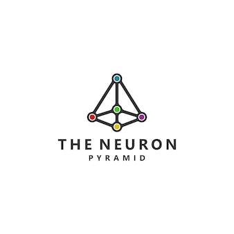 The neuron pyramid connection symbol logo design