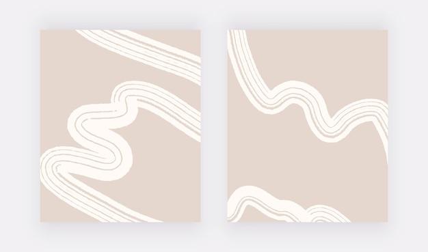 ニュートラルな抽象的な壁のアートプリントと白い線