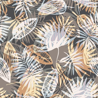 Neutral colors tropical pattern with paint leaves