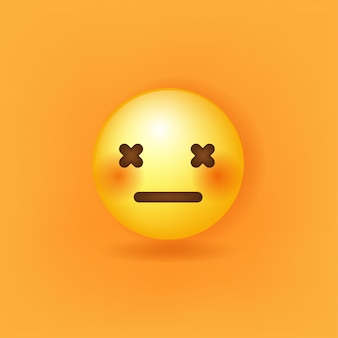 Neutral face emoji on the background Premium Vector