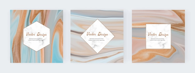 Neutral liquid ink with gold glitter texture banners and marble frames